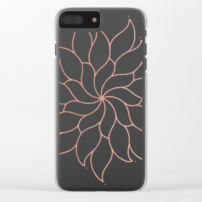 Mandala Flowers Rose Gold on White Clear iPhone Case