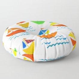 Crazy Sailboats Floor Pillow