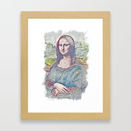 Mona Lisa Smile / La Gioconda / Leonardo Da Vinci / Abstract Fan Art Framed Art Print