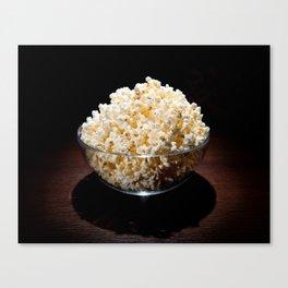 crunchy popcorn in glass bowl Canvas Print