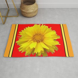 DECORATIVE RED COREOPSIS MODERN ART Rug