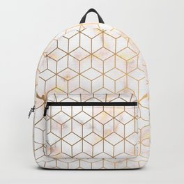 Geometric Gold Pattern on Gold Marble Backpack