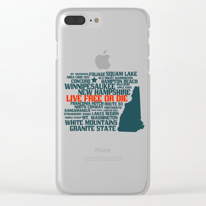 New Hampshire Live Free or Die Clear iPhone Case