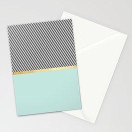 Aqua, Gold and Stripes Stationery Cards