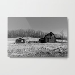 Days Gone By - Old Arkansas Barn in Black and White Metal Print
