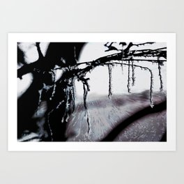 Concept frozen : Ice on branches Art Print