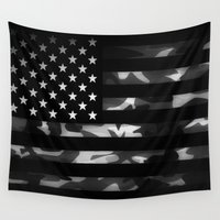 camouflage Wall Tapestries featuring American camouflage by Nicklas Gustafsson
