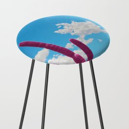 Pink Saguaro Against Blue Cloudy Sky Counter Stool