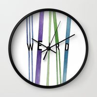 weird Wall Clocks featuring weird by Nikki Lamoureux