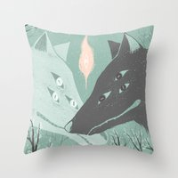 wolves Throw Pillows featuring Wolves by Kelsey King Illustration