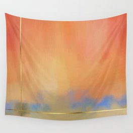 Abstract Landscape With Golden Lines Painting Wall Tapestry