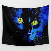 marley Wall Tapestries featuring Marley The Cat Portrait With Striking Yellow Eyes by taiche