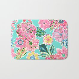 Fun Bright Whimsical Preppy Floral Print / Pattern Bath Mat