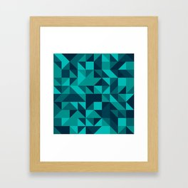 The bottom of the ocean - Random triangle pattern in shades of blue and turquoise  Framed Art Print