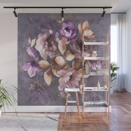 Vintage Mauve Wall Flowers Wall Mural