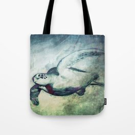 Flying Green Sea Turtle Tote Bag