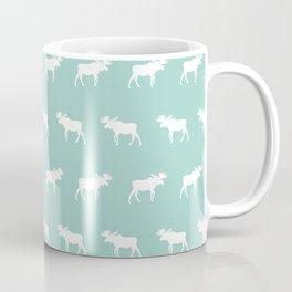 Camper moose pattern minimal nursery basic mint white camping cabin chalet decor Coffee Mug
