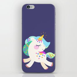 Cute unicorn with colorful mane and tail iPhone Skin
