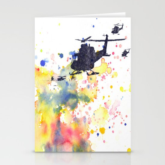 Helicopter Flying into Color Stationery Cards