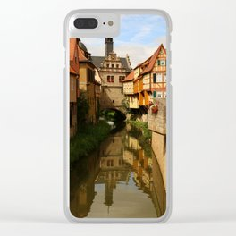 Medieval Village Reflection Clear iPhone Case