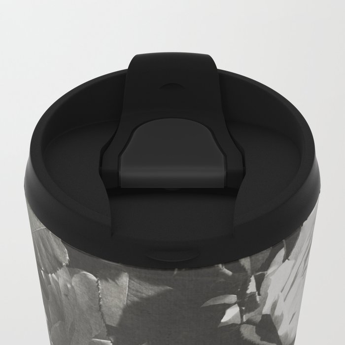 BLACK AND WHITE ROSES Metal Travel Mug