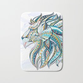 Zentangle head of the lion on the grunge background Bath Mat