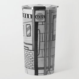 London Coffee Shop in Black and White Travel Mug