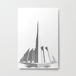 City Block Perspective Stipple Metal Print
