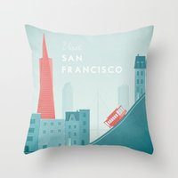 san francisco Throw Pillows featuring San Francisco by Travel Poster Co.