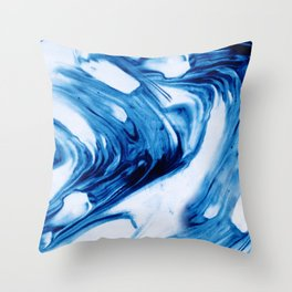 Blue Cream Marble Waves Throw Pillow