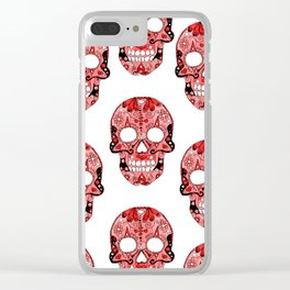 Red Skulls Pattern Clear iPhone Case