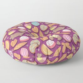Mexican Sweet Bakery Frenzy // pink background // pastel colors pan dulce Floor Pillow