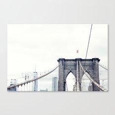 New York, NYC, Brooklyn bridge on black and white Canvas Print