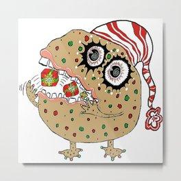 Christmas Fruitcake Monster Metal Print