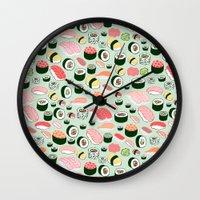 sushi Wall Clocks featuring Sushi Love by Kristin Nohe Juchs