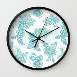 Henna Tattoo Peacock in White Wall Clock