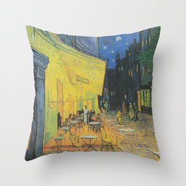 Cafe Terrace at Night by Vincent van Gogh Throw Pillow