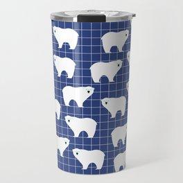 White Polar Bear Pattern on Blue Background Travel Mug