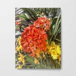 Orange Spring Flowers and Yellow Daffodils Metal Print