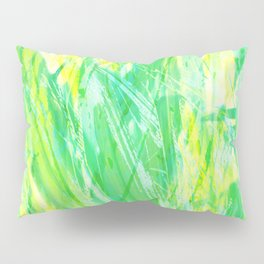 Grassy Abstract in Yellow Green Aqua White #nature #painting Pillow Sham