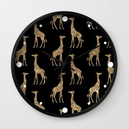 Black Gold Glitter Giraffe Pattern Wall Clock