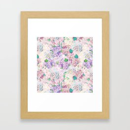 Pastel Purple and blue Lilac & Hydrangea - Flower Design Framed Art Print