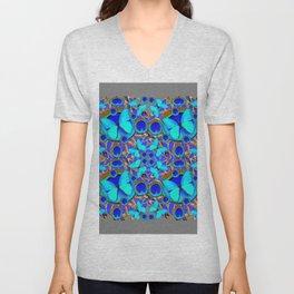 Abstract Decorative Aqua Blue Butterflies On Charcoal Grey Art Unisex V-Neck