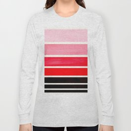Red Minimalist Mid Century Modern Color Fields Ombre Watercolor Staggered Squares Long Sleeve T-shirt