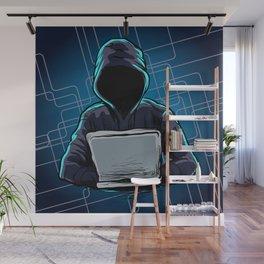 Computer hacker spread a net Wall Mural