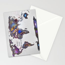 """Star map. Never stop exploring...II"". World map. Stationery Cards"