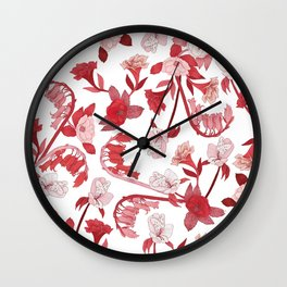 Alstroemeria, Bluebell and Camellia Japonica Wall Clock