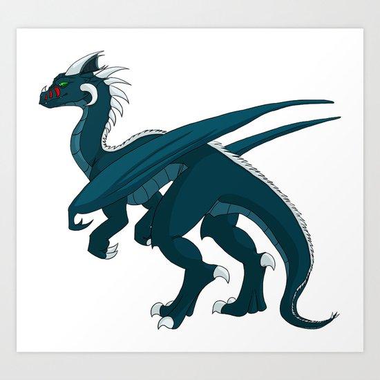 Teal Dragon Art Print