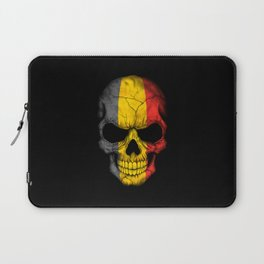 Dark Skull with Flag of Belgium Laptop Sleeve