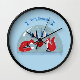 Christmas foxes in love Wall Clock